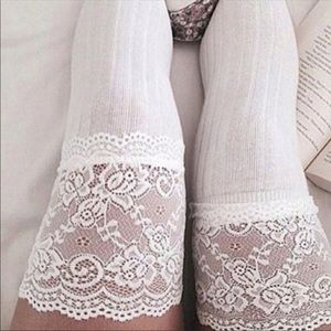Accessories - NEW. White thigh high cable knit lace